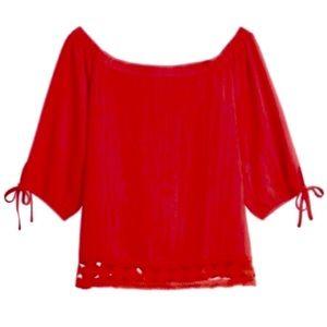 Clarté Stitch Fix Akela Red Off The Shoulder Top